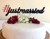 Hashtag Just Married -  #justmarried - Classic Wedding Cake Topper With Hashtag Accent