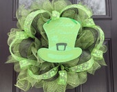 St. Patricks Day Wreath- St. Paddy's Day Wreath- St. Patrick's Decoration- Deco Mesh Wreath- Ruffled Deco Mesh Wreath- Wreath-Holiday - JadieAcresFarm
