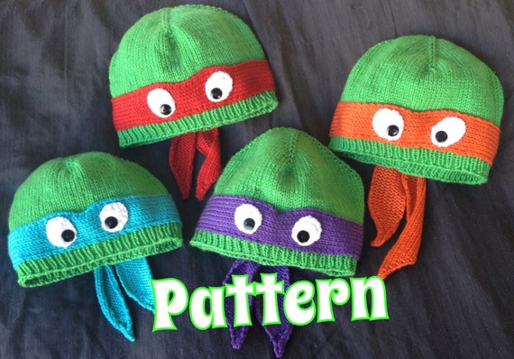 Knitting Pattern Turtle Hat : PATTERN ONLY: Hand-knit turtle hat with ribbed or rolled