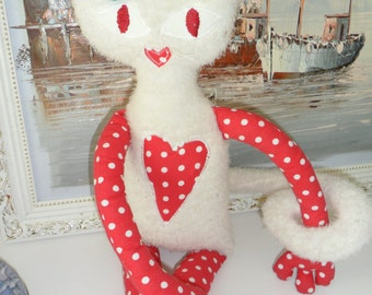 big Plush Cat white red