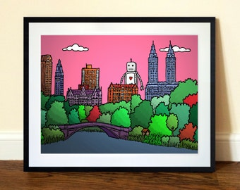 Bow Bridge, Central Park NYC Art Print - A3 Limited Edition