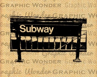 INSTANT DOWNLOAD - NYC Subway Sign - Download and Print - Image Transfer - Pillow, Tote, Tea Towel - 111