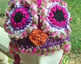 Purple soft trim owl Hat