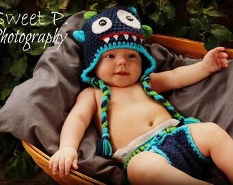Crochet baby hat-monster hat-crochet monster hat and diaper cover-monster set-knit monster hat and diaper cover set