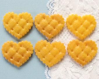 6 Pcs Big Heart Cookie Cabochons - 29x27mm