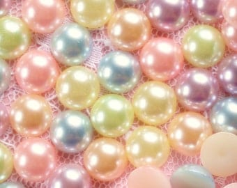 150 Pcs 8mm Pastel Round Flatback Pearls