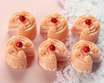 6 Pcs 3D Pink Layer Cake Cabochons - 16x16mm