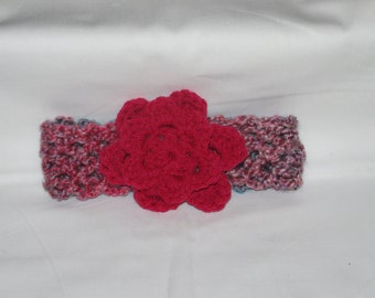Crocheted Infant Headband With Attached Flower