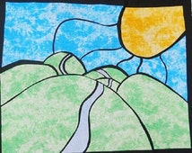 Hilly Valley Road Stained Glass Quilting Pattern Design
