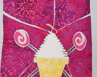 Ice Cream Stained Glass Quilting Pattern Design