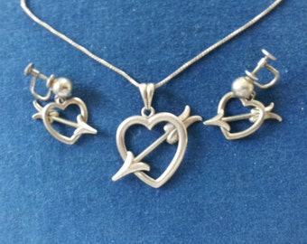 Vintage Forstner Sterling Heart Necklace with Matching Earrings