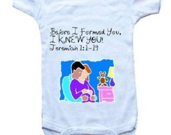 Baby One-Piece Bodysuit-Personalized Gifts-Christian Baby Gifts-Before I Formed You, I Knew You  - White, Blue or Pink