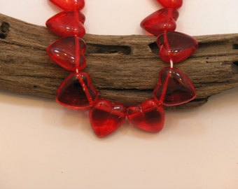 Red Glass Beads, Red Hearts, String of 12 (Czech)
