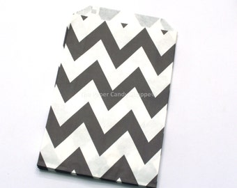 Chevron Favor Bags, 12 Black Chevron Gift Bags, Popcorn Bags, Cookie Bag, Candy Buffet Bags, Candy Bag, Wedding, Baby Shower, Birthday Favor