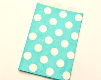 Favor Bags Dots, 12 Aqua Green Polka Dot Gift Bags, Popcorn Bags, Cookie Bag, Candy Buffet Bags, Candy Bag, Wedding, Baby Shower, Birthday