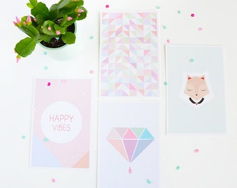 Pastel Postcards (set of 4)