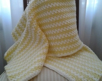 Yellow and White Striped Shawl / Yellow and White Wrap