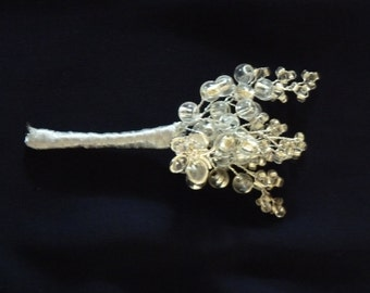 Beaded silver buttonhole with crystal butterfly and silver ribbon. Boutonniere. suitable for bridesgroom, bestman, ushers, mother