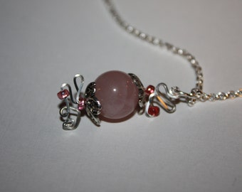 Necklace, Rose Quartz Necklace, Sterling Silver Chain, Sterling Silver Lobster Claw Clasp, Sterling Silver Wire Wrapping