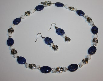 Necklace and Earings Set, Denim Lapis Stone, Howlite Stone  with Antique Silver Beads, and Antique Silver Toggle Clasp