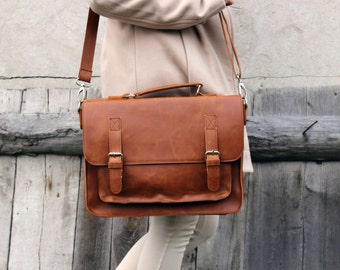 Brown leather messenger bag,  leather satchel, handmade leather bag, leather shoulder bag