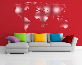 Map squares wall decal home office decor