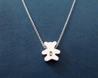 Personalized, Letter, Initial, Teddy Bear, Silver, Necklace, Custom, Hand stamped, Initial, Animal, Necklace, Moder, Dainty, Gift, Jewelry