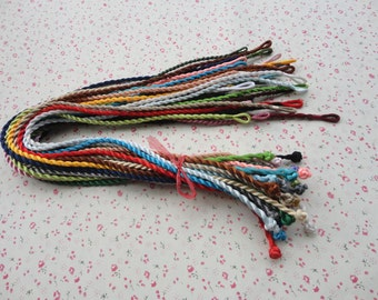 20pcs 3mm 17-19 inch assorted colors 20 colors satin/silk twist necklace cord with connectors
