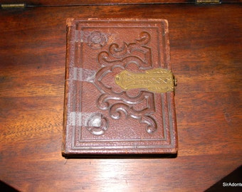 Victorian Leather Bound Photo Album with 20 Photos