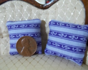 Set of 2 purple stripe dollhouse pillows