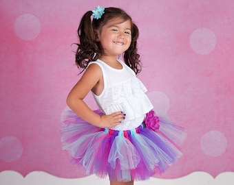 Purple, Hot Pink, Aqua Tutu with Matching Flower Clip