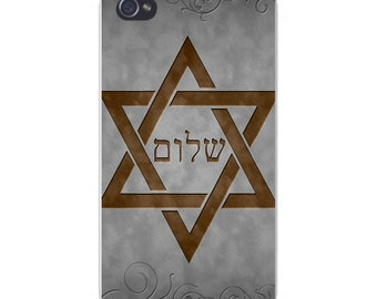 Apple iPhone Custom Case White Plastic Snap on - Star of David w/ Hebrew Writing 6233