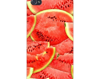 Apple iPhone Custom Case White Plastic Snap on - Watermelon Fruit Red & Green Stacked 7817
