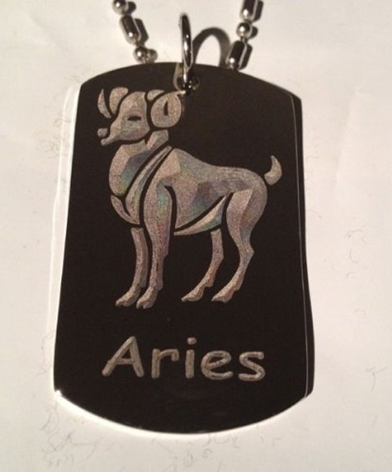 Black Zodiac Dog Tag Necklace: Zodiac Signs Sign Aries Ram Military Dog Tag Chain Metal