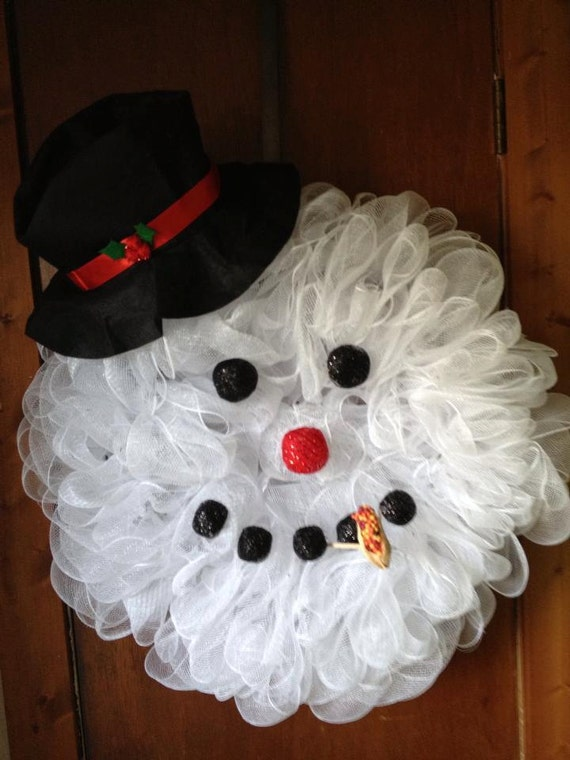 items similar to large deco mesh snowman head wreath on etsy