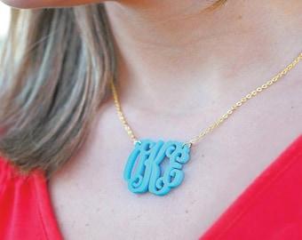 "Monogram Acrylic Necklace 1.25"""