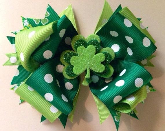 saint patricks day boutique hair bow st patricks hair bow. Black Bedroom Furniture Sets. Home Design Ideas