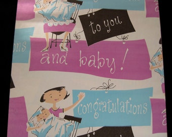 Baby congratulations gift vintage wrapping paper