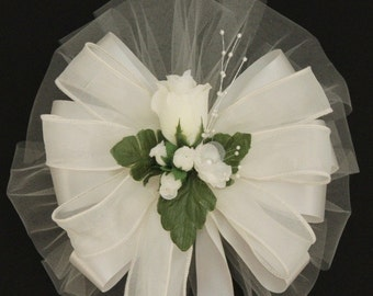 Classic Ivory Rosebud  Wedding Pew Bows Church Aisle Decorations