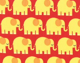 Bungle Jungle Red w/ Yellow Elephants by Moda 1/2 Yard 100% Designer Cotton by Tim and Beck