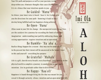 """Hawaiian art vintage inspired print - """"Imi Ola"""" guidance to finding your passion and purpose"""