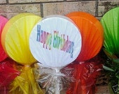 Lollipop Candy Yard Decorations - Happy Birthday Custom Message - A Must For Candy Themed Birthday Party - Extenders Included