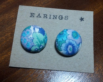Liberty Print Fabric Covered Button Earings