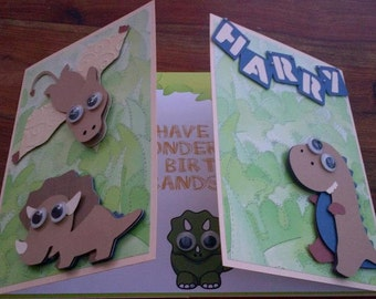 Large Personalised Dinosaur Birthday Card, Custom birthday card, boys, son, brother, nephew, Large handmade card.