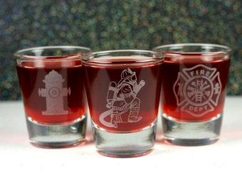 Personalized Firefighter Etched Shot Glass Set of 3 -- fireman gift -- firefighter gift -- custom fireman gift