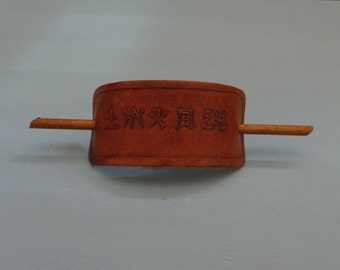 Leather Hair Slide hand tooled by Artrix Leather and Fine Art- 5 Elements in Kanji