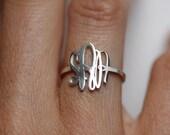 Silver Monogram Ring, Initial Rings, Thin Ring, Thin Band, Personalized Band, Personalized Ring, Silver initial Ring, bridesmaid Ring