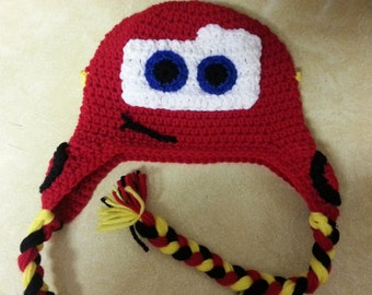 Disney's Cars Lightening McQueen INSPIRED Beanie-- Sizes Newborn-Extra Large Adult
