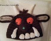 Gruffalo inspired crochet hat pattern - multiple sizes