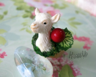 Cute, fashionable unique handmade sheep wood ring, jewlery for animal, pet, forest lover